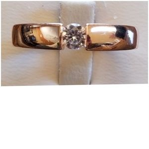 .50ct White Topaz Rose Gold Plated Ring